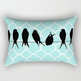 Vintage elegant teal quatrefoil black bird silhouette Rectangular Pillow