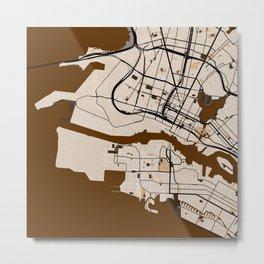 Oakland Street Map // Brown Theme Metal Print