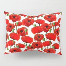 Red Poppy Pattern Pillow Sham