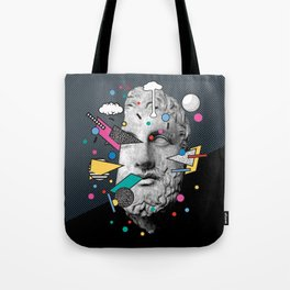 """""""Thoughtless"""" Inner Thoughts Statue Memphis Collage 1 Tote Bag"""