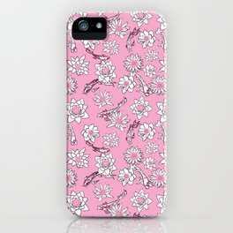 Pretty Pastel Cranberry and Pink Koi Fish on Pink Background iPhone Case
