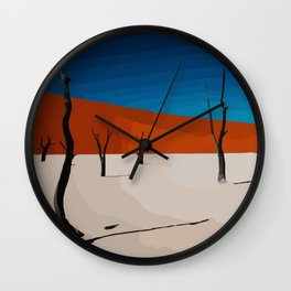 Desert in pop-art style with sand, nature, trees in the sahara Wall Clock