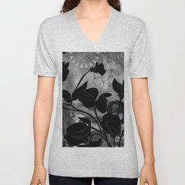 Queen Sweet Pea -- grayscale Unisex V-Neck