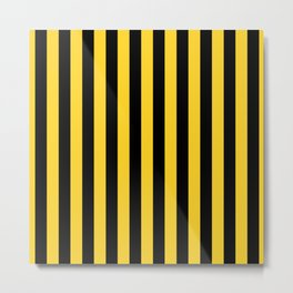 Yellow and Black Honey Bee Vertical Beach Hut Stripes Metal Print