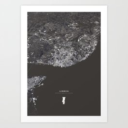 Lisbon City Map I Art Print