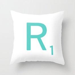 Aqua R Scrabble Letter Art Throw Pillow