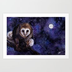 Baby Space Owls - coffee and watercolor painting Art Print