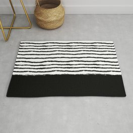 Watercolor Lines black Rug
