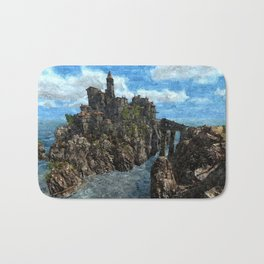Castle on rock isle Bath Mat