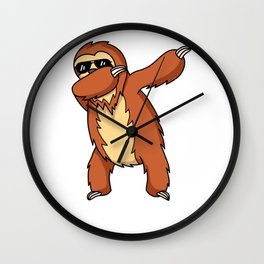 Dabbing Sloth Funny Best Gift For Sloth Lovers Wall Clock