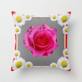 Red Art Shasta Daisy Fuchsia Rose Design Throw Pillow