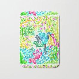 Asian Bamboo Garden in Sunset Watercolor Bath Mat