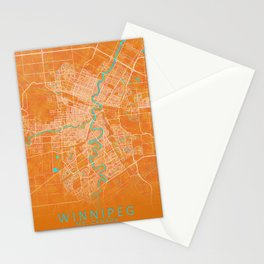 Winnipeg, MB, Canada, Gold, Blue, City, Map Stationery Cards