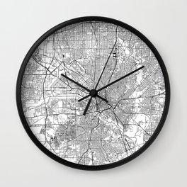 Dallas White Map Wall Clock