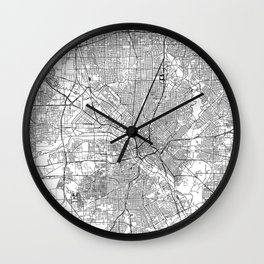 Dallas White Map Wall Clock