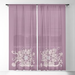 flower of the leaves on the violet gradient Sheer Curtain