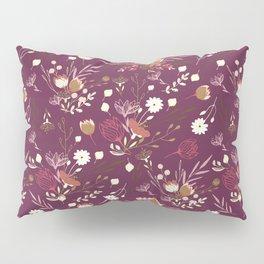 Burgundy white blush pink hand painted floral Pillow Sham