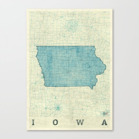 Iowa State Map Blue Vintage Canvas Print