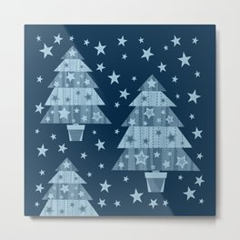 Christmas trees-blue Metal Print