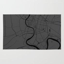 Bangkok Thailand Minimal Street Map - Gray and Black Rug
