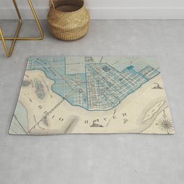 Vintage Map of Jefferson Indiana (1876) Rug