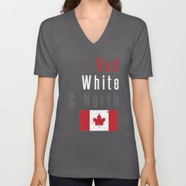 Red White & North Canada CAD Canadian Flag Love Unisex V-Neck