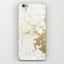 Boston White and Gold Map iPhone Skin
