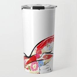 Woman wears a traditional kimono, Body tied by rope, Shibari, Japanese BDSM art, Fashion illusration Travel Mug