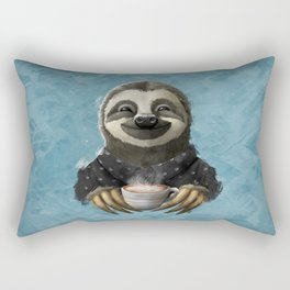 Sloth smilling with coffee latte Rectangular Pillow