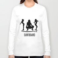 surfboard Long Sleeve T-shirts featuring surfboard by August Riche
