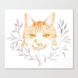 Winter Cat - Floral Wreath Watercolor Tomcat Canvas Print