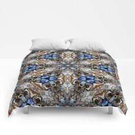 River Birch bark with blue sky kaleidoscope Comforters