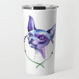 Lavender Sphynx - Full Color Watercolor Painting Travel Mug