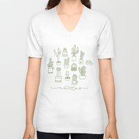 cactus V-neck T-shirts featuring Cactus  by Chee Sim