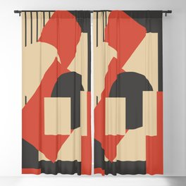 Geometrical abstract art deco mash-up scarlet beige Blackout Curtain