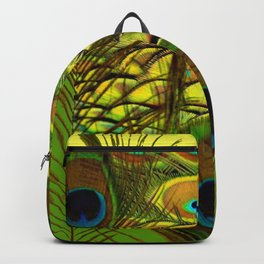 GREEN-YELLOW PEACOCK ART Backpack