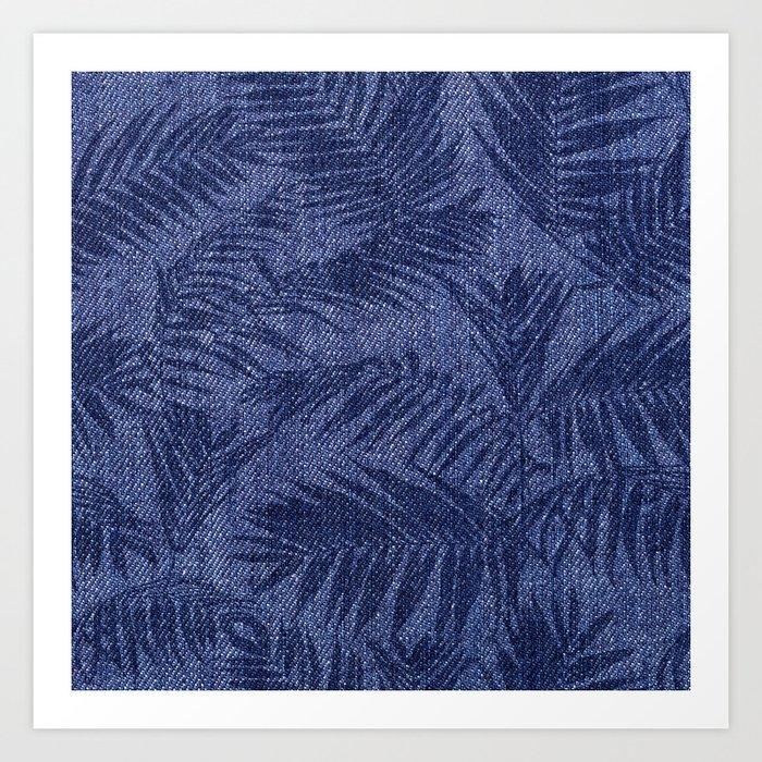 Tropical pattern on blue jeans Art Print