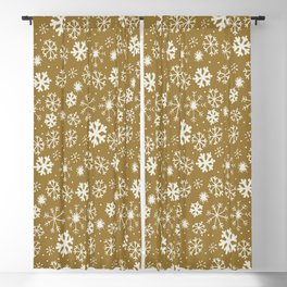 Snowflake Snowstorm With Golden Background Blackout Curtain