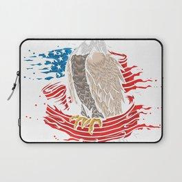 Skull with iconic Trump Hair Eagle president Flag America Tees Laptop Sleeve