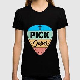 Guitar Retro Colorful Guitarist Pick Jesus Music T-shirt