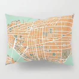 New York city map orange Pillow Sham