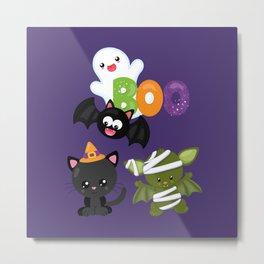 Cute Halloween Cat, Bat, Mummy & Ghost Metal Print