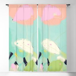 minimal floral abstract art Blackout Curtain