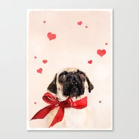 pugs Canvas Prints featuring I ♥ Pugs by Roman Bratschi