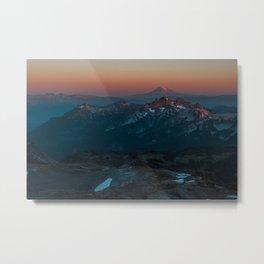 Mount Hood sunset from Mount Rainier Metal Print