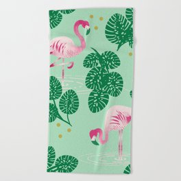 Flamingo Friends Beach Towel