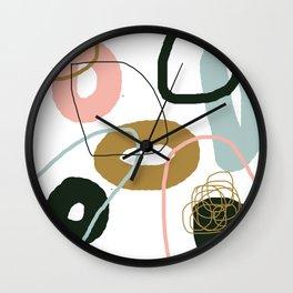 Crooked Circle Abstract Pink Blue Black Brown Wall Clock