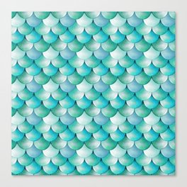mermaid scales, turquoise shimmer Canvas Print