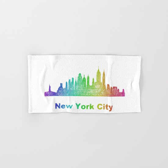 Rainbow New York City skyline Hand & Bath Towel