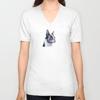 boston terrier V-neck T-shirts featuring Boston terrier by Doggyshop